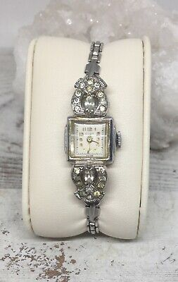 $ CDN97.53 • Buy Vintage CORT 12k White Gold Filled Bezel And Band & Crystal Women Wrist Watch