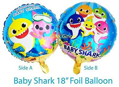 AU2.75 • Buy Baby Shark Family Round Foil Balloon (x1) Under The Sea Doo DooHelium Decoration