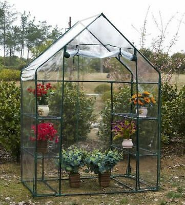 Greenhouse PVC Plastic Garden Grow Green House With Shelves Walk In • 44.90£