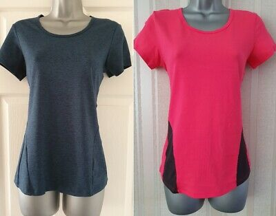 Womens M&S Top Sports T Shirt Running YOGA Gym Active Fitness Ladies Tee Size • 4.99£