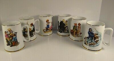 $ CDN22.71 • Buy Norman Rockwell Museum Collection 1986 Coffee Mugs Cups Gold Trim Set Of 6