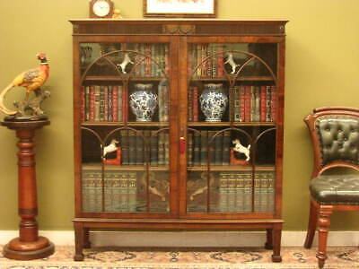 AU1200 • Buy FINE ANTIQUE MAHOGANY BOOKCASE /  DISPLAY CABINET ~ ADJUSTABLE SHELVES  C1900s
