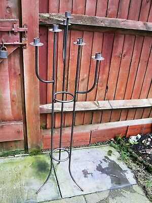 """Tall Vintage Black Wrought Iron Candle Chandelier Holder Floor Standing 43"""" • 31£"""