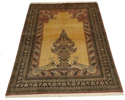 £2995 • Buy Genuine Large Antique Gold Vintage 100% Pure Silk Hand Made Knotted Rug Peacock