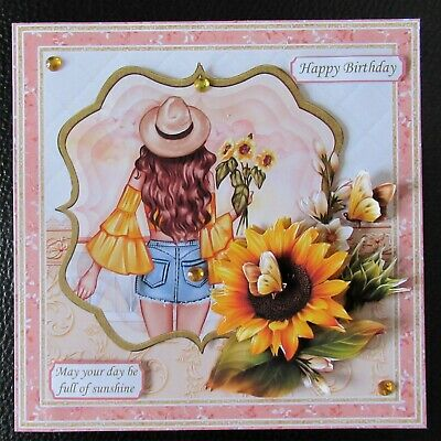 Handcrafted 3d Birthday Card Topper  Sunflower Girl • 1.65£