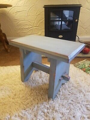 Vintage Small Painted Pine Stool Side Table Annie Sloan Duck Egg Blue Distressed • 24£