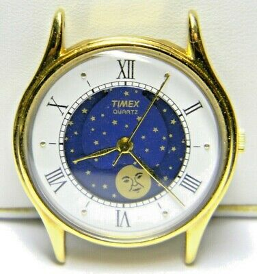 $ CDN70.37 • Buy Mens Timex Moonphase White & Blue Face Gold Plated Vintage Watch Parts Repair