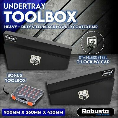 AU414.99 • Buy Under Tray Tool Box Pair Set Ute Steel Toolbox Trailer Undertray Underbody BLACK