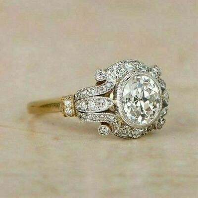 2Ct Vintage Diamond Circa Antique Art Deco Engagement Ring 14k White Gold Over • 97.99£