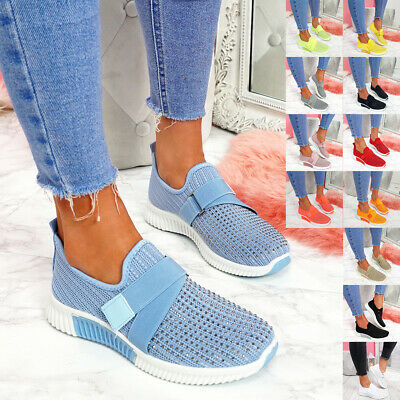 £12.99 • Buy Womens Ladies Knit Slip On Trainers Diamante Studs Women Party Sneakers Shoes