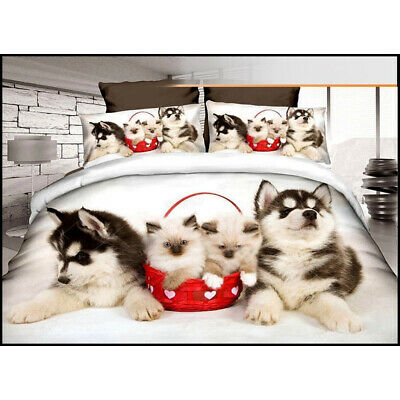Dogs & Cats In Red Basket Design Bedding Set Single Duvet Cover Pillow Case Bed • 13.99£