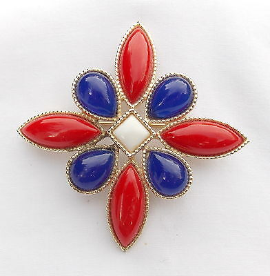 $24.99 • Buy Vintage Emmons Patriotic Brooch Pin, Gold Tone Red, White And Blue