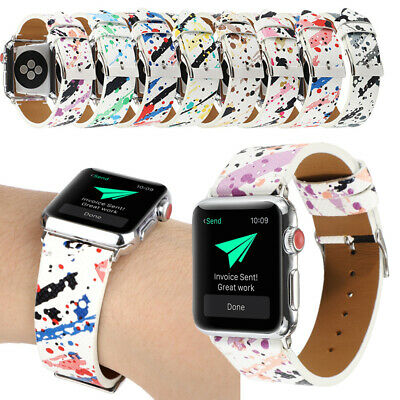 $ CDN20.60 • Buy For Apple Watch Band Print Design Leather Bracelet Replacement Series 5 4 3 2 1