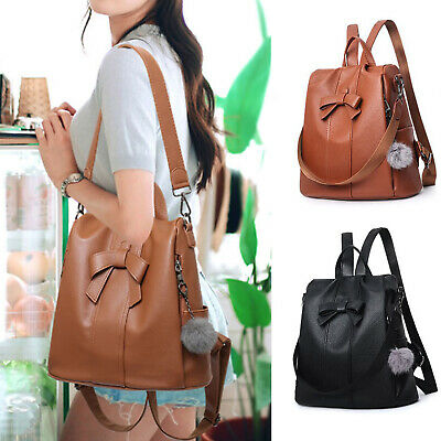 Girls Ladies Women PU Leather Rucksack Handbag Backpack Travel Shoulder Bag UK • 8.99£