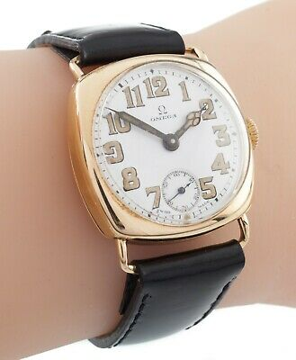 Omega 14k Yellow Gold Antique 1920s Hand-Winding Cushion Watch W/ Leather Band • 2,014.25£