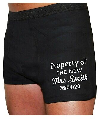 Mens Personalised Valentines Groom Husband Boxer Shorts Property Mrs Gift S-XL • 10.90£