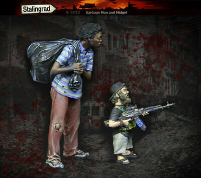 1/35 Scale Resin Figure Kit Garbage Man And Midget • 19.99£