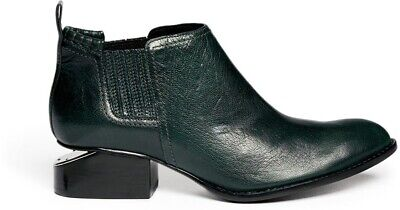 AU603.63 • Buy New Alexander Wang Kori Boots Dark Green Leather Ankle Silver Metal Cut Out SZ 6