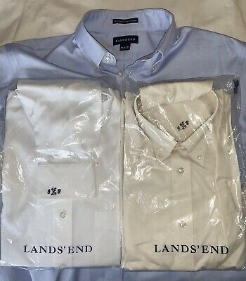 $29.99 • Buy Lot Of 3 Lands End Button Up Long Sleeve MONOGRAMMED Dress Shirts Mens 15 1/2 34
