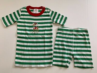 $11.99 • Buy Hanna Andersson Size 130 Green & White Striped SJ Pajamas W Reindeer Embroidery