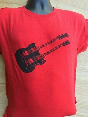 £5.79 • Buy Gibson Sg Double Neck Guitar T Shirt Jimmy Page Led Zeppelin Rare