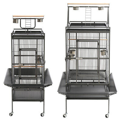 Large Parrot Bird Cage Play Top Finch Chinchilla Cockatiel W/Perch + Feeder Bowl • 135.95£