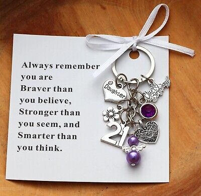 21st Birthday Gift Keyring  - Sister, Daughter, Niece, Friend + Card  • 3.99£