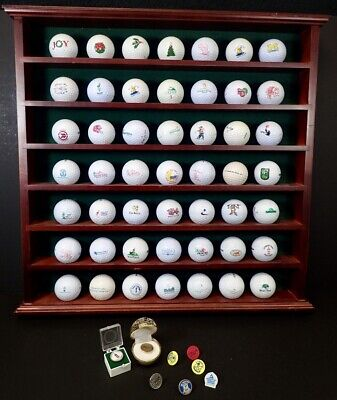 Wood Display Rack & Unique Golf Ball Collection Of Courses Played & Advertising • 54.23£
