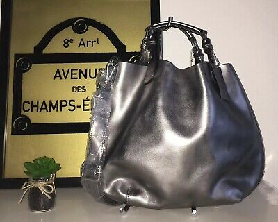 $ CDN75 • Buy Danier Gunmetal Metallic Genuine Leather Bucket Shoulder Crossbody Bag