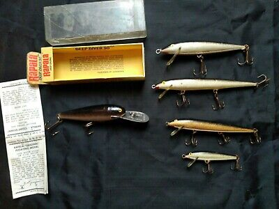 $ CDN49 • Buy LOT Of 5 VINTAGE RAPALA FINLAND MINNOW FISHING LURES Incl DEEP DIVER 90 WBOX WOW