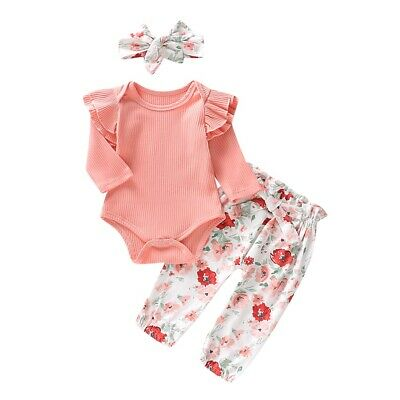 AU14.99 • Buy 3PCS Set Newborn Baby Girl Romper Tops Floral Pants Outfits Clothes Tracksuit