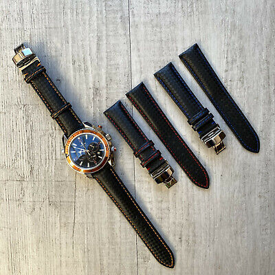 For 20mm Omega Rolex Tissot Genuine Leather Watch Strap Band + Deployment Buckle • 19.99£
