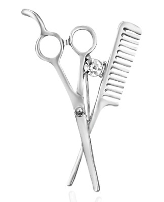 £2.59 • Buy Hairdressers Scissors & Comb Pin Lapel Brooch Quirky Cute Silver Tone + Gift Bag