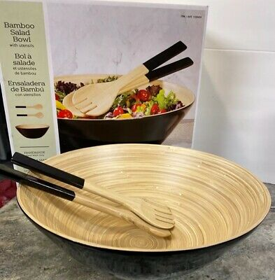 "$12.74 • Buy 14"" Round  Wood Bamboo Salad Serving Bowl Set  Fork Serving Utensils  Dish"