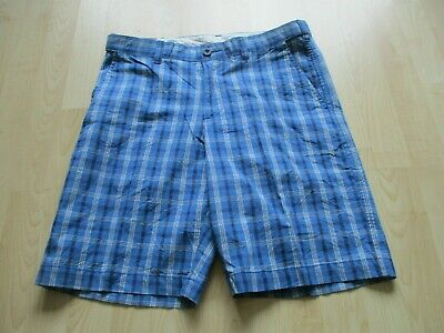 Mens BHS ATLANTIC BAY BLUE CHECK  COTTON SHORTS UK SIZE 32  WAIST NEW + TAGS • 15£