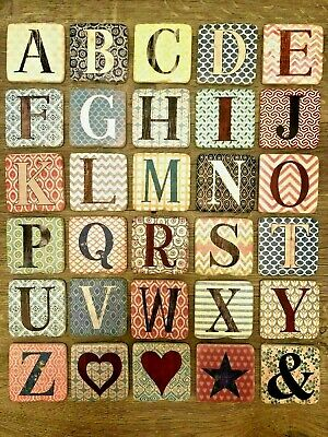 Resin Alphabet Custom Coasters Letters Vintage Farm Style Home Family Initial  • 2.95£