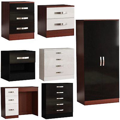 £73.90 • Buy High Gloss Chest Of Drawers Bedside Cabinet Dressing Table Wardrobe Bedroom