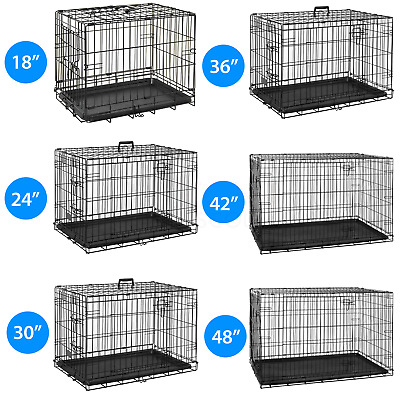 Pet Cage Strong Metal Travel Crate Training Carrier Dog Cat Puppy Vet With Tray • 19.95£