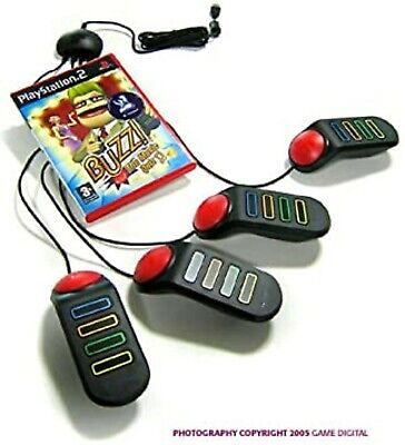 Buzz! The Music Quiz With 4 Buzzers PS2 PlayStation 2 Video Game UK Release • 34.99£