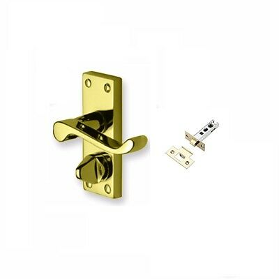 £21 • Buy Polished Brass Victorian Scroll Privacy Toilet Door Handles 100mm X 40mm + Latch