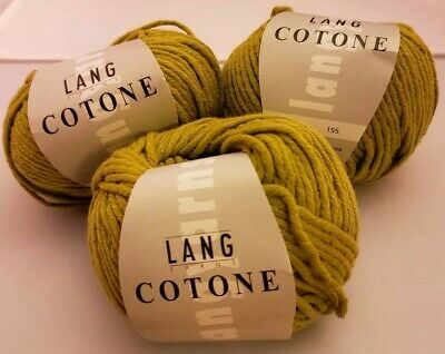 $18 • Buy 3 Skeins/balls Of Cotone By Lang Yarn ~ Olive