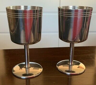 Pair Of Retro Stainless Steel Wine Goblets GOT Chalice • 15£
