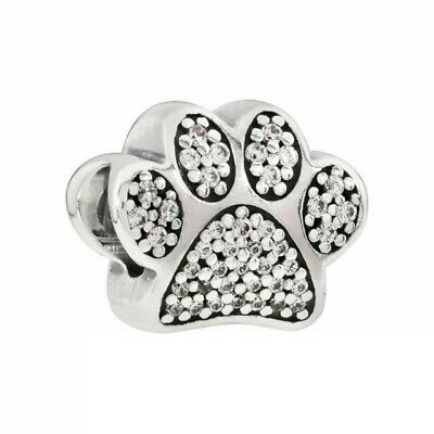 AU24.99 • Buy SOLID Sterling Silver  Sparkling PAW CAT DOG PET Charm By Pandora's Wish