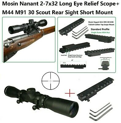 $89.99 • Buy Mosin Nagant M44 M91/30 Top Scope Mount With 2-7x32 Long Eye Relief Scope,Rings