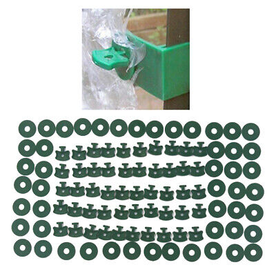 50Pcs Plastic Greenhouse Twist Clips Washers Set Shading Fixing Clips W/ Washers • 4.09£