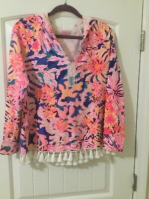 $30 • Buy Lilly Pulitzer Ladies M Pinks/blues/greens Pull Over Hooded Top