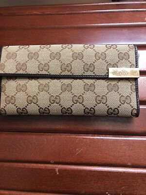 $150 • Buy Authentic Brown Leather Canvas Gucci Wallet