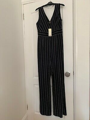 Lipsy Evening Jump Suit Size 16 Long NWT Silver Stripe. • 3.50£