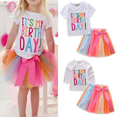Kid Girl It's My Birthday T-Shirt Tulle Tutu Skirt Dress Outfit Set Age 1-7Years • 13.96£