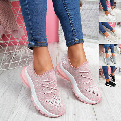 $ CDN17.63 • Buy Womens Ladies Lace Up Chunky Mesh Trainers Running Sneakers Women Shoes Size